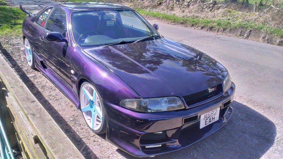 Violet Purple Nissan Skyine painted with Violet Interference Pearl.