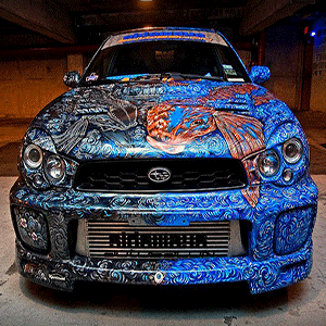 Sideways AutoSalon and Cindy Raschke make this awesome Subaru.