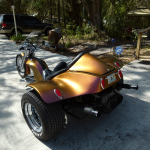 Colorshift Pearl 4739OR. Orange Gold Red sprayed on a Trike.