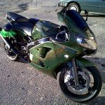 Green Holographic on a super bike.