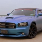 Chameleon Dodge Charger with matte finish Blue to Purple ColorShift Pearls pigment on it.