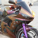 Custom Super Bike Painted with our 4739OR. This is our Gold Orange Red Chameleon. Colorshift Pearl s that creates a color shifting paint.