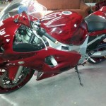 Candy Red GSXR painted using several PWP products.