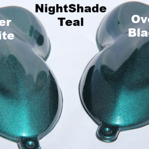 Nightshade Teal Candy Paint Pearl over Black and over White