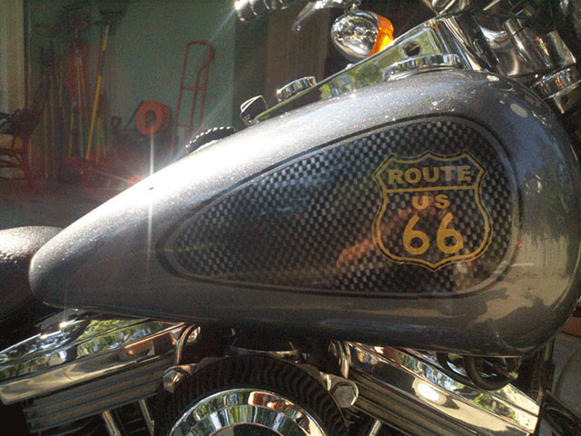 Route 66 Harley. This Bike Painted with a variety of our products, including Interference Pearl, flakes, and DIY Paint Colors.