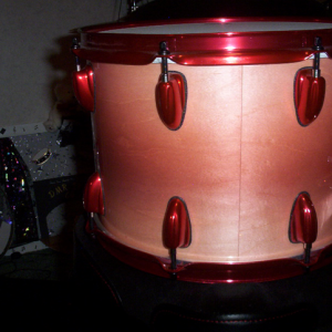 Rose Red DIY Paint Colors on Drum Set by DMR Drums.