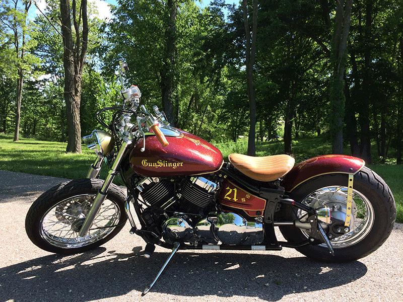 Gunslinger Bike with Gold Flake custom paint.