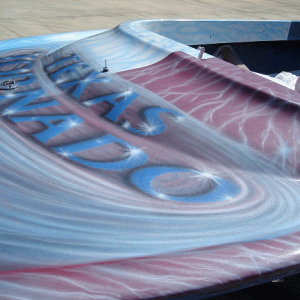 Jet boat airbrushed with Red Wine Candy, Electric Blue, Silver Platinum Interference Pearl.
