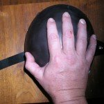 Hand on helmet Black Thermochromic Paint Pigment.