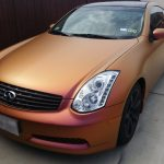 Gold Orange red chameleon paint pearl on an Infinity.