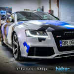 Audi Dipped in Hydro Transfer using Blue Ghost, Violet Ghost, Electric Blue, Black gunmetal. All this using Plasti Dip Pearls from Paint with Pearl.