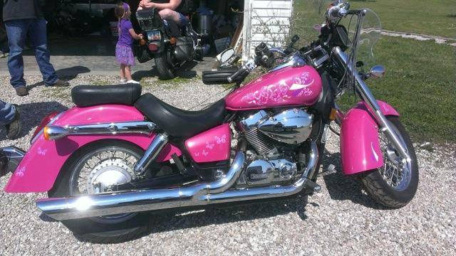 Hot Pink Harley with Silver Interference Pearl.