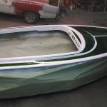 jet boat with moss green metal flake and white pearl