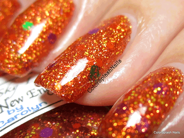 Orange Nails with Holographic flakes by Colorsplash custom nail polish color