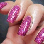 Nails painted with Holographic Flake custom mixed together.