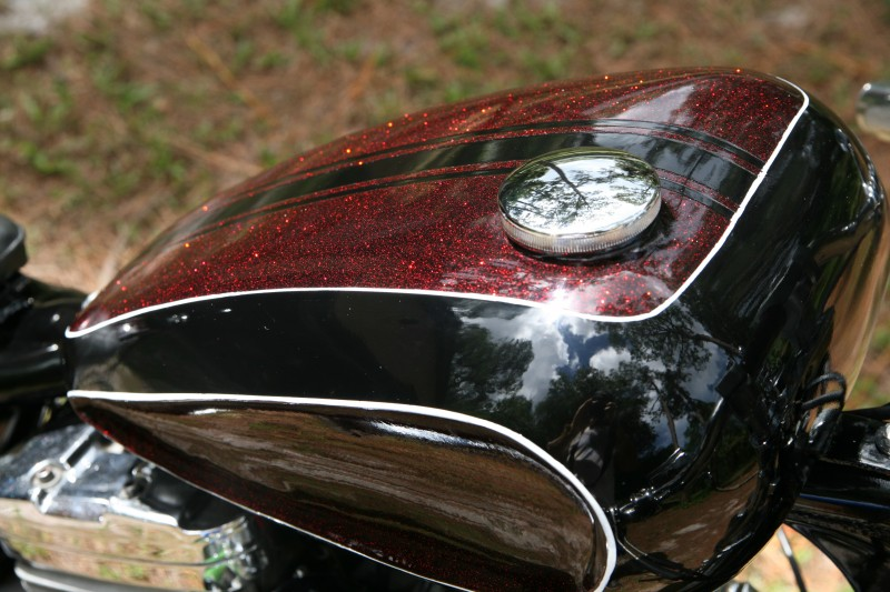 Apple Red Metal Flake On A Sportster Paint With Pearl