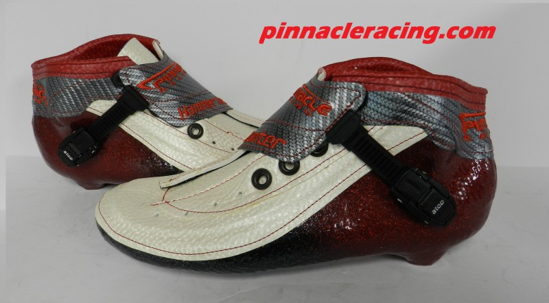inline speed skate boots with red metal flake