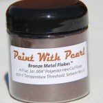 Bronze Metal Flake in 4fl oz jar. That is one measuring cup of Bronze metal flake.
