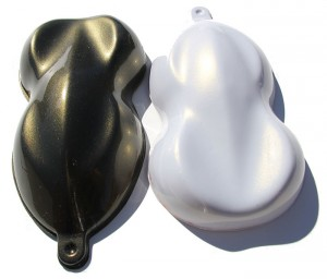 Gold Interference Pearl Shapes painted over both black and white base coats.