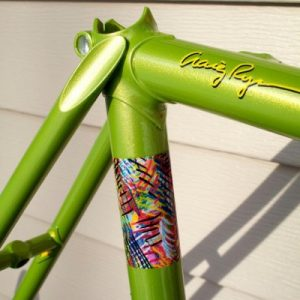 Gold Ghost Pearl on Lime Green base coat making this bicycle stand out above the rest.