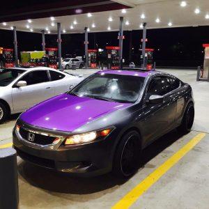 Purple Candy Metallic Paint Pigments on car hood.