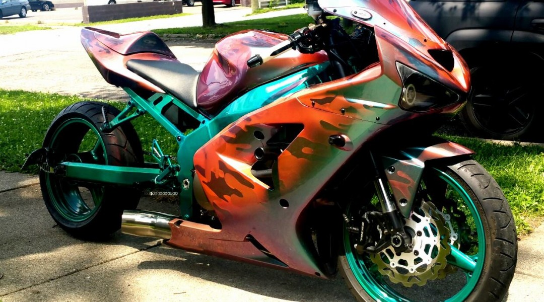 The Thermochromic Chameleon super bike in it's warm state, showing off what's underneath.